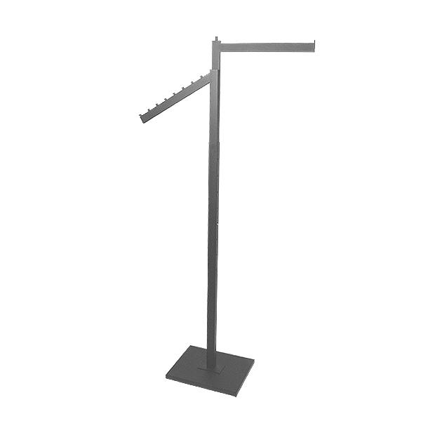 1 Straight & 1 Slant Arm Rack- Chrome and Matte Black