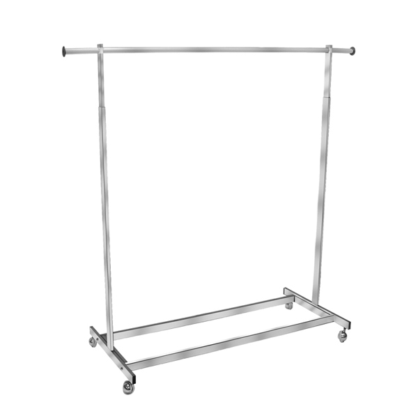 Single Chrome Rolling Rack with Rectangular Tubing