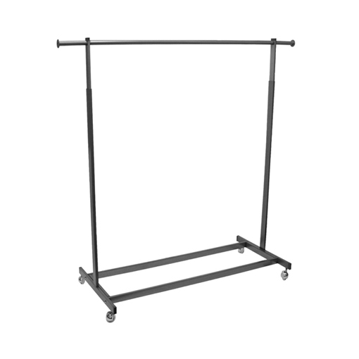 Single Raw Steel Rolling Rack with Rectangular Tubing