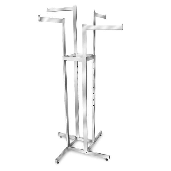 4 Straight Arms Adjustable Rack- Chrome, Matte Black & Raw Steel