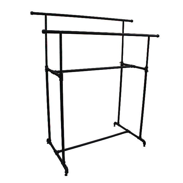Pipe Style Double Rack-Matte Black