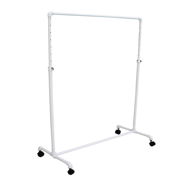 Pipe Style Rolling Rack in White