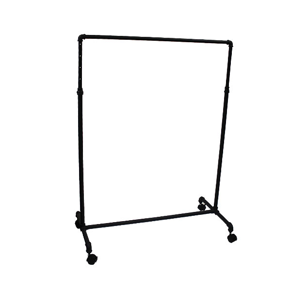 Pipe Style Rolling Rack in Black