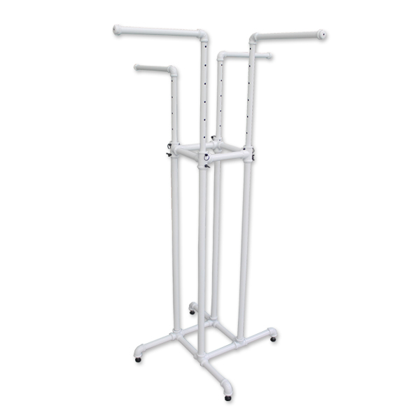 Pipe Style 4 Way Rack- White Finish