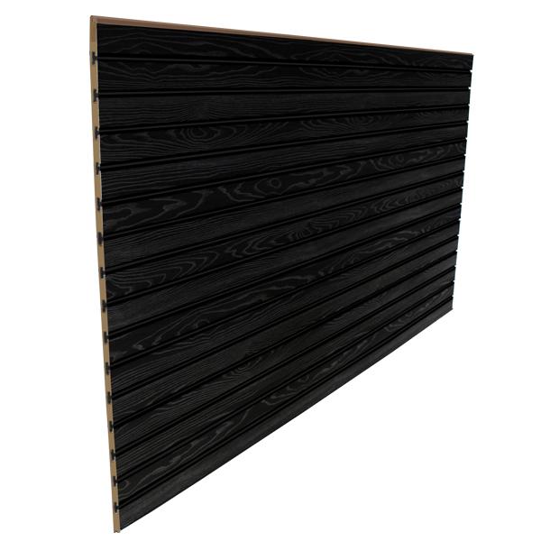 3″ O.C. Black Wood Grain MDF Slatwall – 18mm