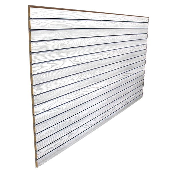 3″ O.C. White Wood Grain MDF Slatwall – 18mm