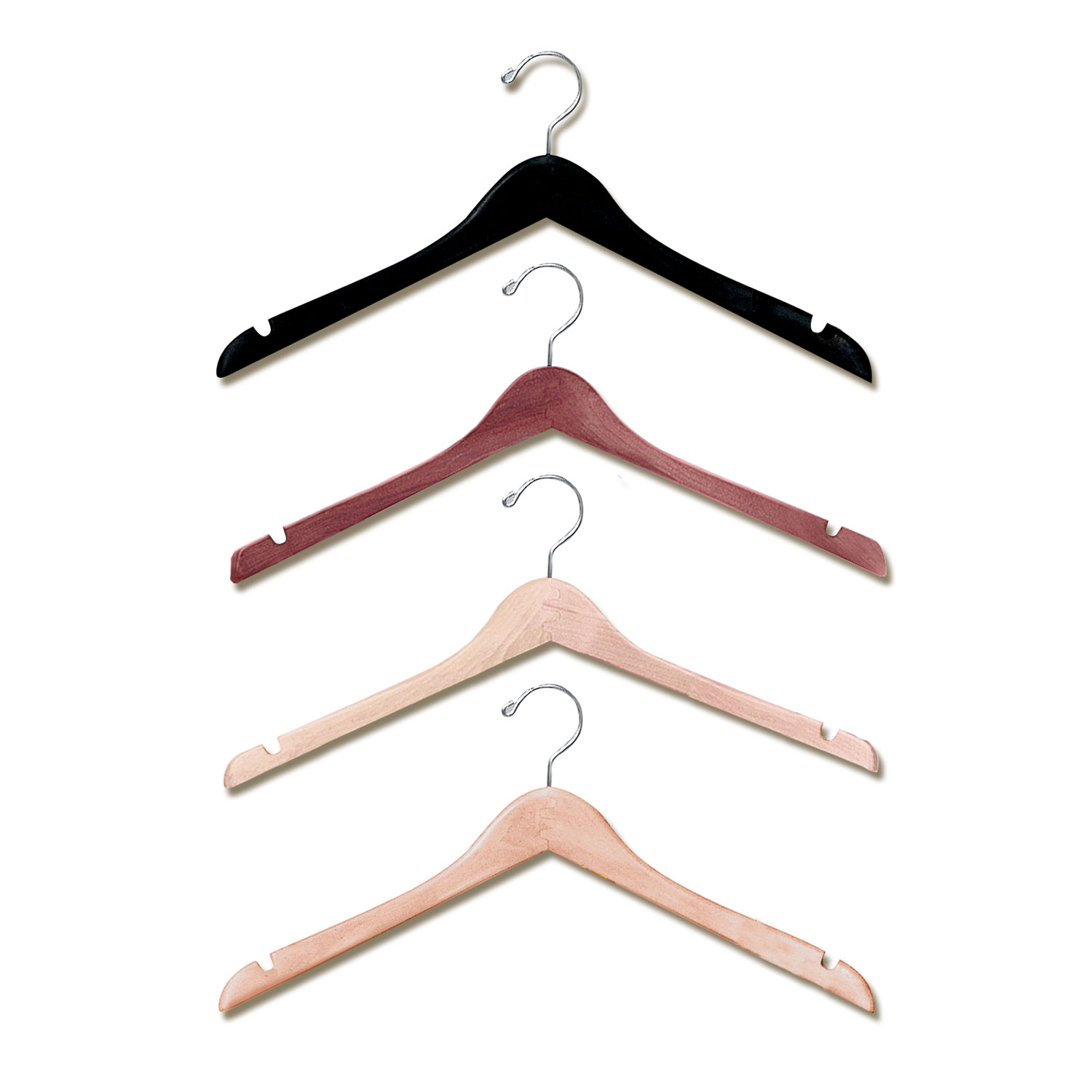 17″ Contoured Wood Shirt and Blouse Hanger -H200 Series