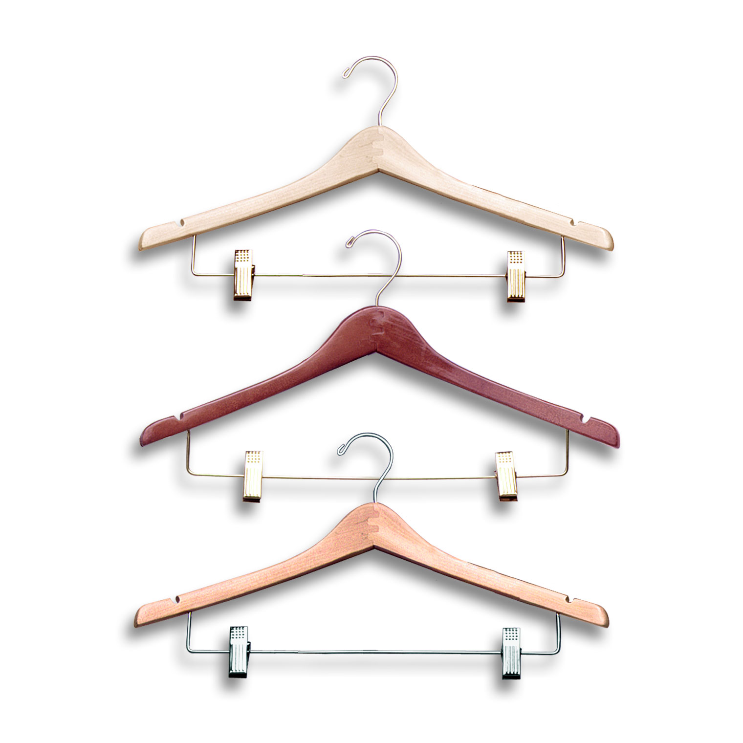 17″ Wood Suit Hanger with Clips -H300 Series