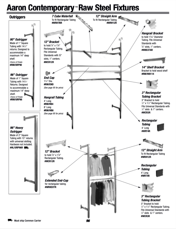 ACME DISPLAY RAW STEEL OUTRIGGER CATALOG PAGE