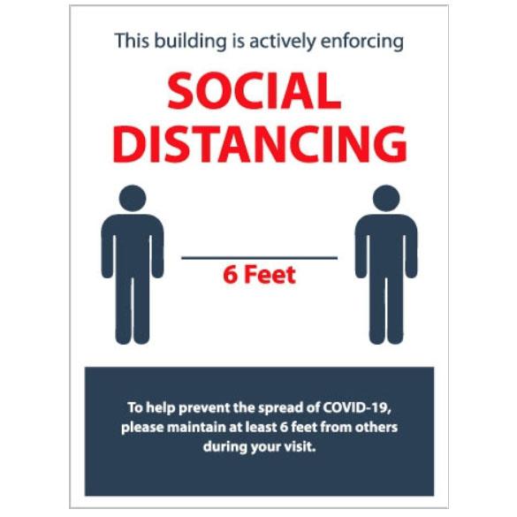 Social Distancing Sign 18″X24″