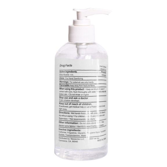 Alcohol Hand Sanitizer 16oz pump BACK