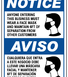 Bilingual Face Mask Sign