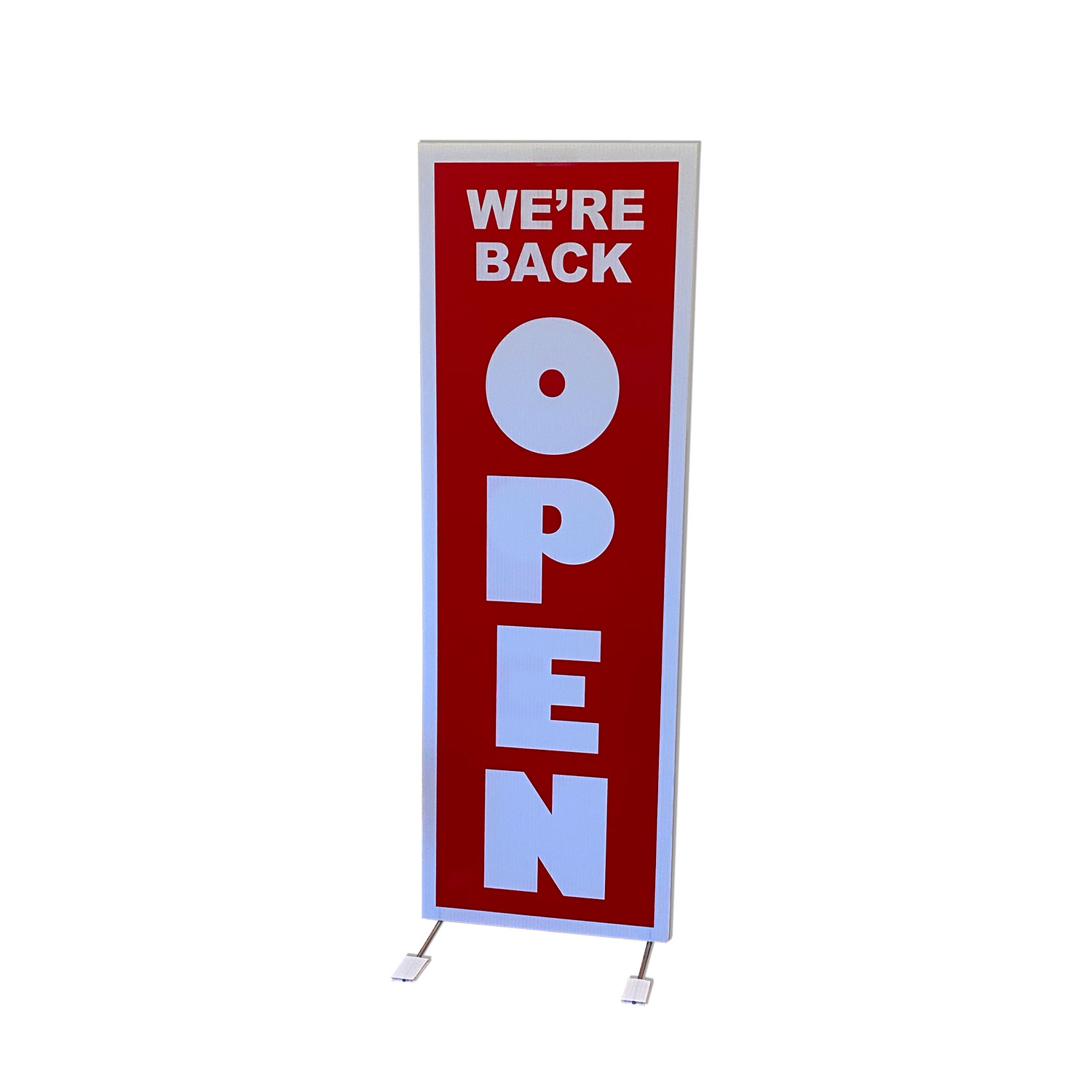 """WE'RE BACK OPEN"" Freestanding Floor Sign"